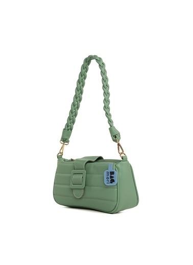 Bagmori  Kadın Kemerli Nakışlı Örgü Askılı Baget Çanta M000006132 Yeşil
